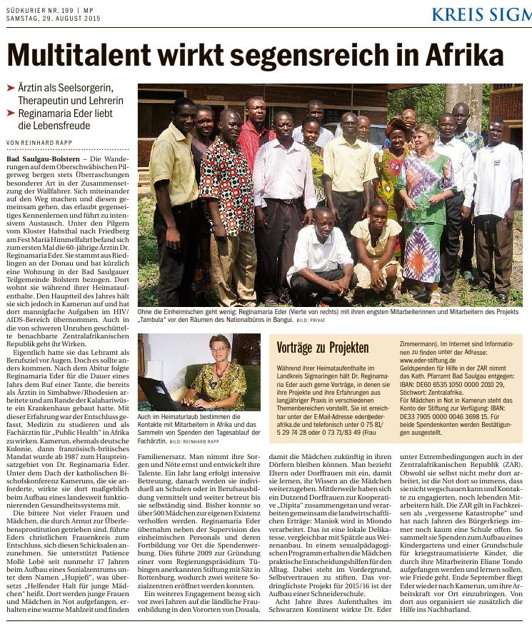 Artikel im Südkurier vom 29.08.2015