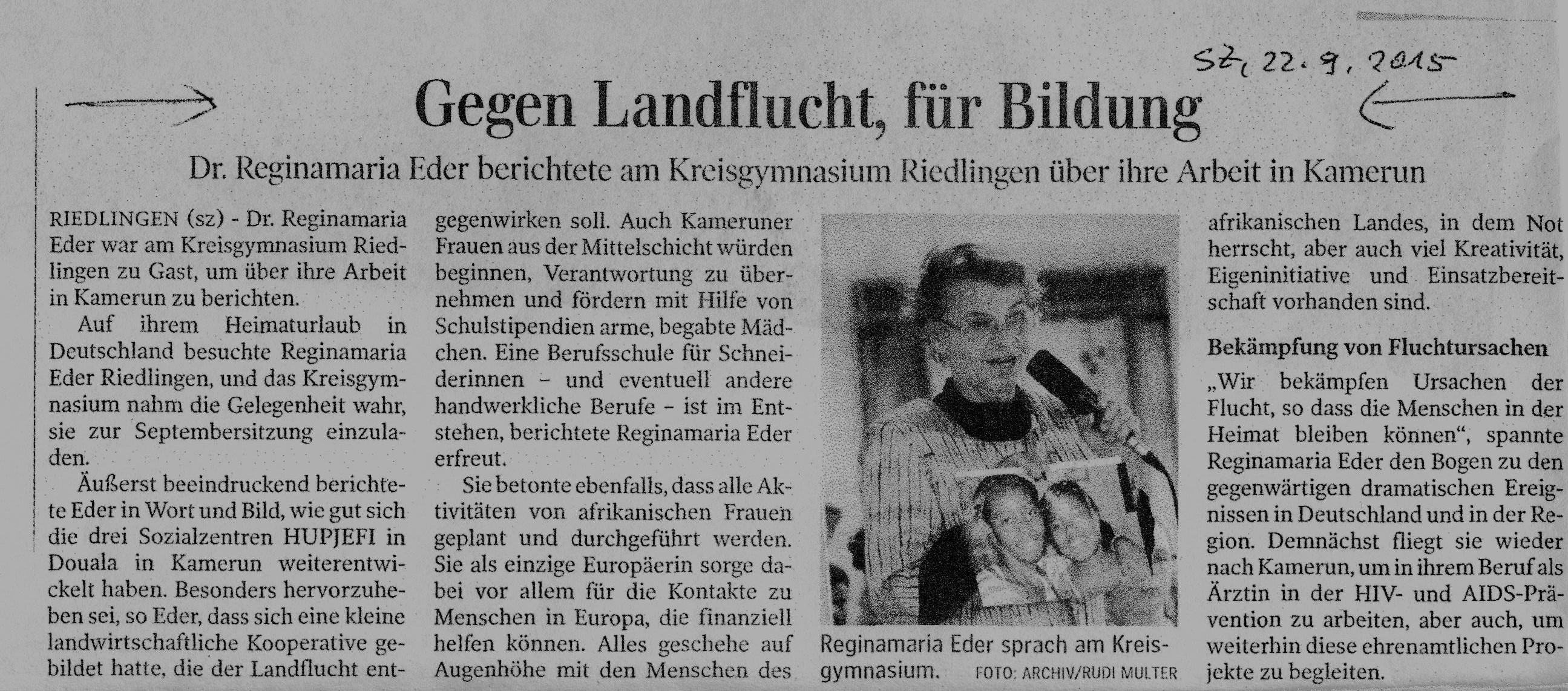 Artikel in der Schwäbischen Zeitung vom 22.09.2015